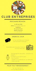 Invitation à la réunion du club entreprises le 28 mai à 8H30 à PHARE 28 12 rue de Varize à Chartres Ordre du jour Présentation du GEIQTH